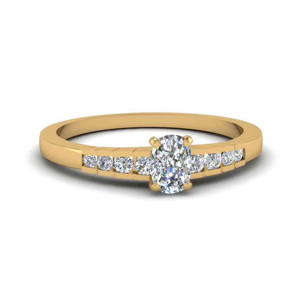 cushion cut diamond graduated accent engagement ring in 14K yellow gold FDENS3116CUR NL YG