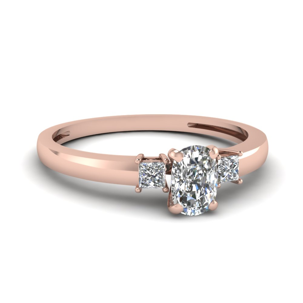 3 Stone Cushion Cut Ring