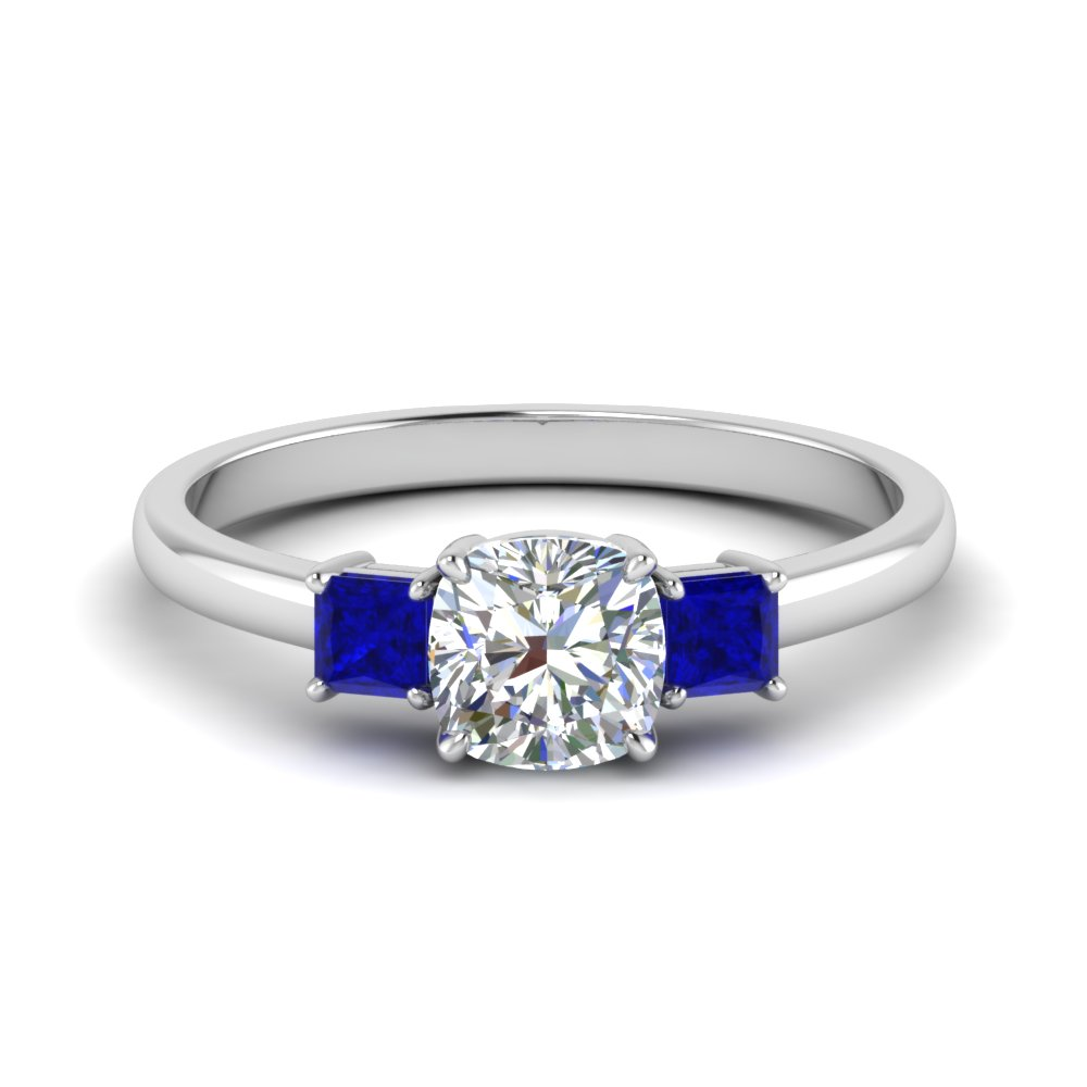 3 stone cushion cut engagement ring with sapphire in 14K white gold FDENS3107CURGSABL NL WG