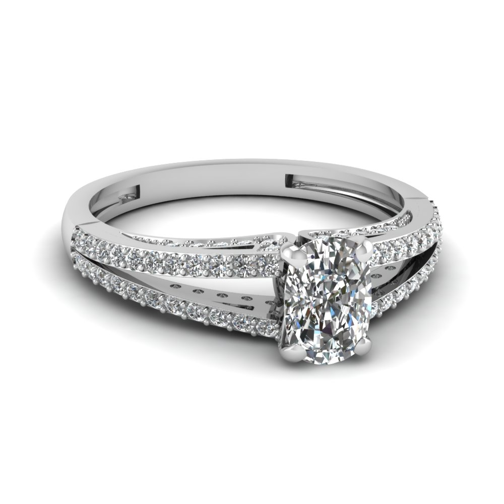 split cushion diamond engagement ring in FDENS3131CUR NL WG