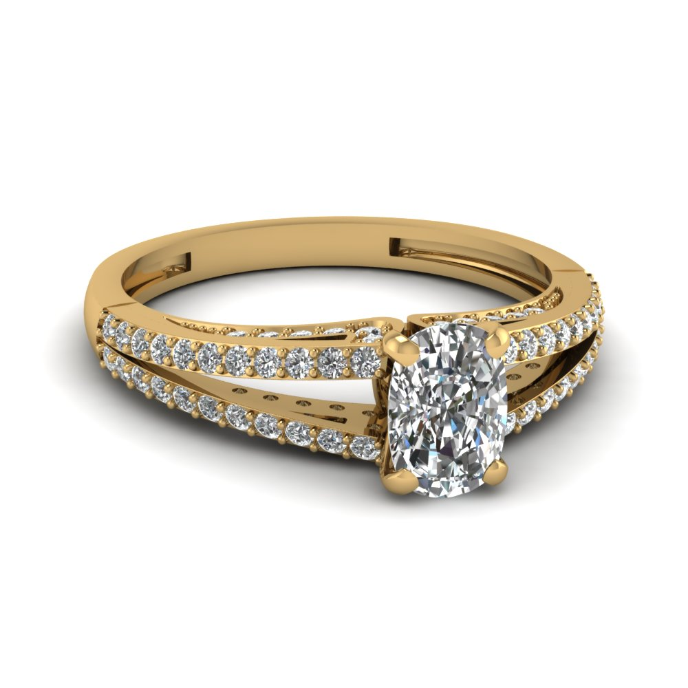 Gold Split Shank Round Accents Cushion Engagement Ring