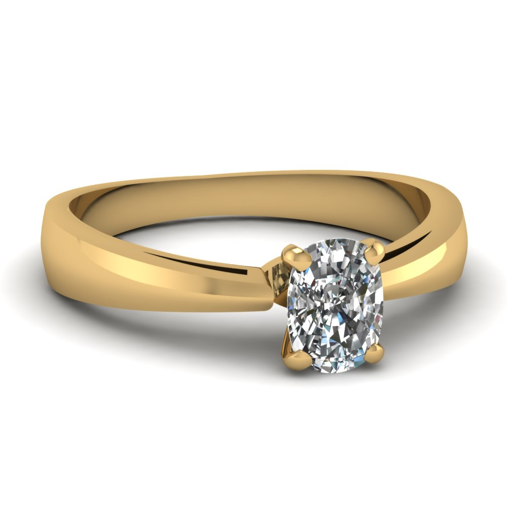 cushion cut diamond solitaire glossy womens engagement ring in 14K yellow gold FDENR678CUR NL YG