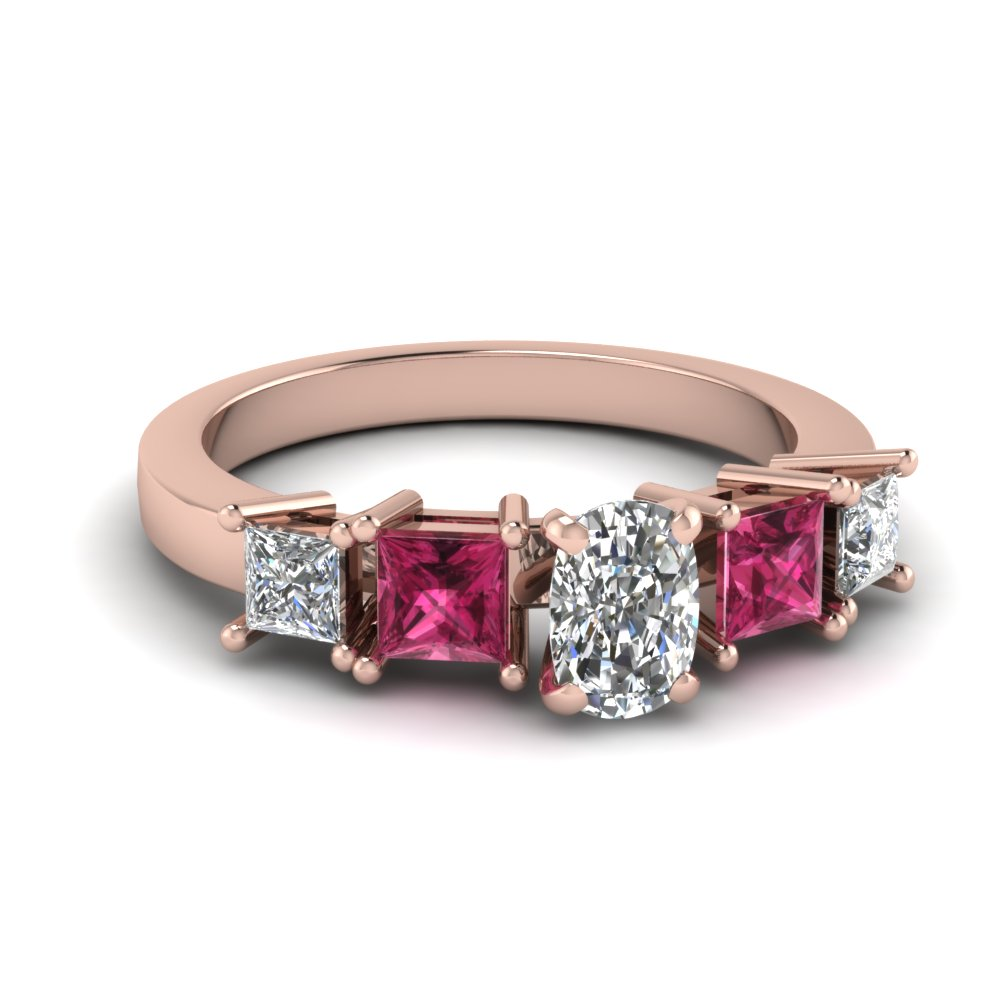 Rose Gold Pink Sapphire Engagement Ring With Cushion Diamond