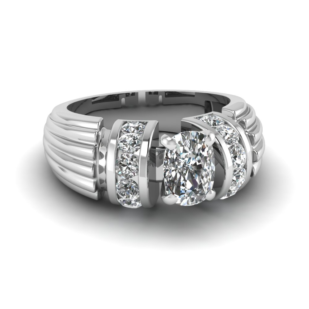Cushion Cut Wide Band Engagement Ring