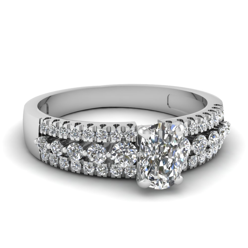triple row cushion diamond engagement ring in FDENS3014CUR NL WG