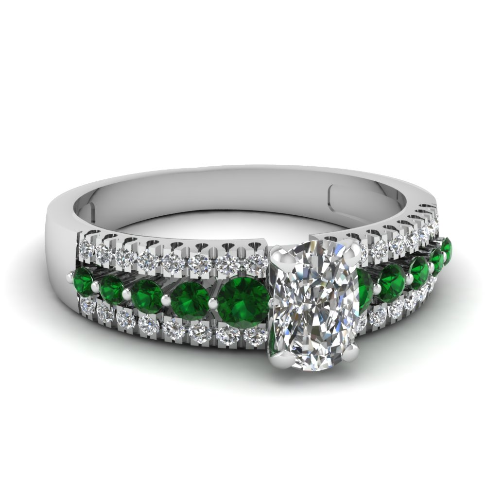 center diamond in white ring three round rings side emerald with gold cut engagement stones and stone