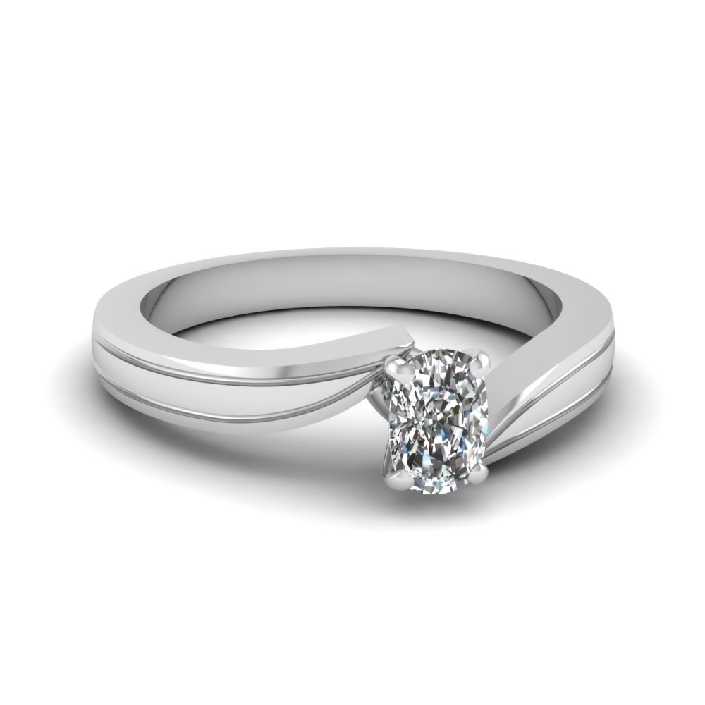 Cushion Cut Twisted Solitaire Ring