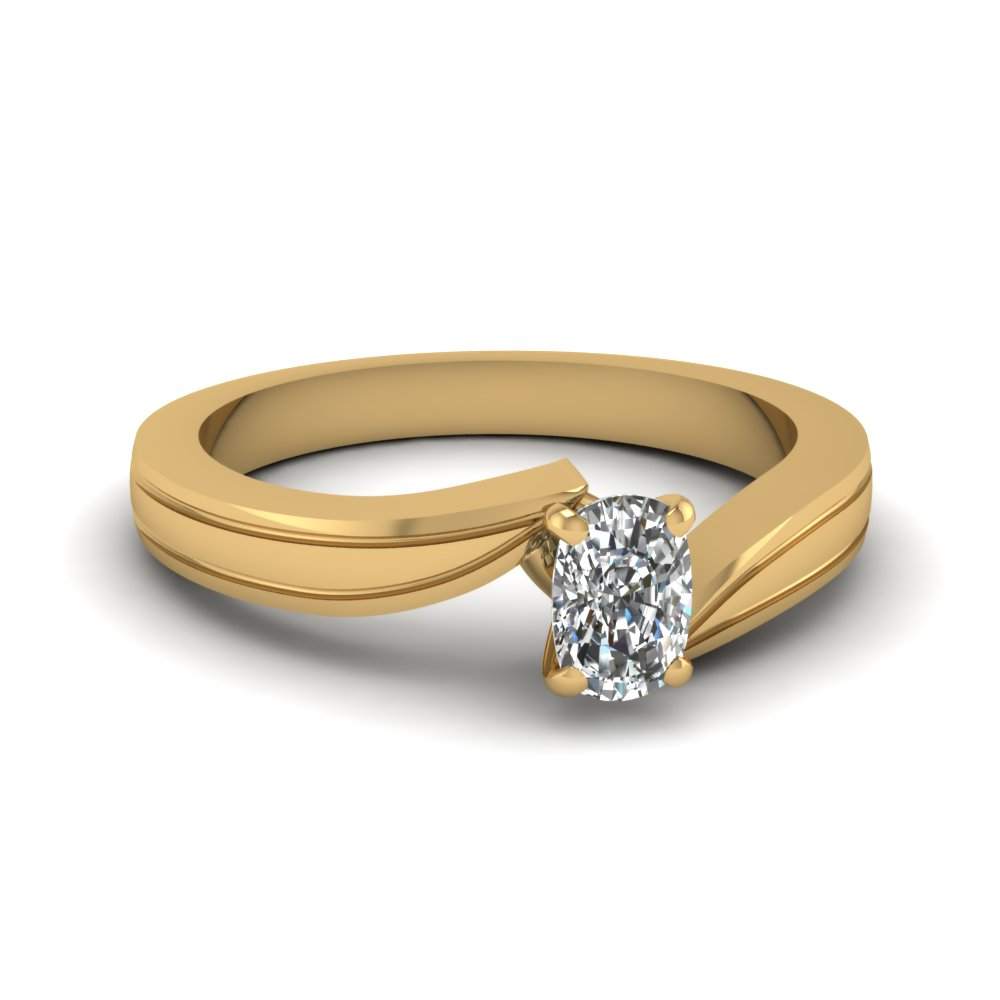cushion cut diamond twirl solitaire ring in 14K yellow gold FDENR6677CUR NL YG