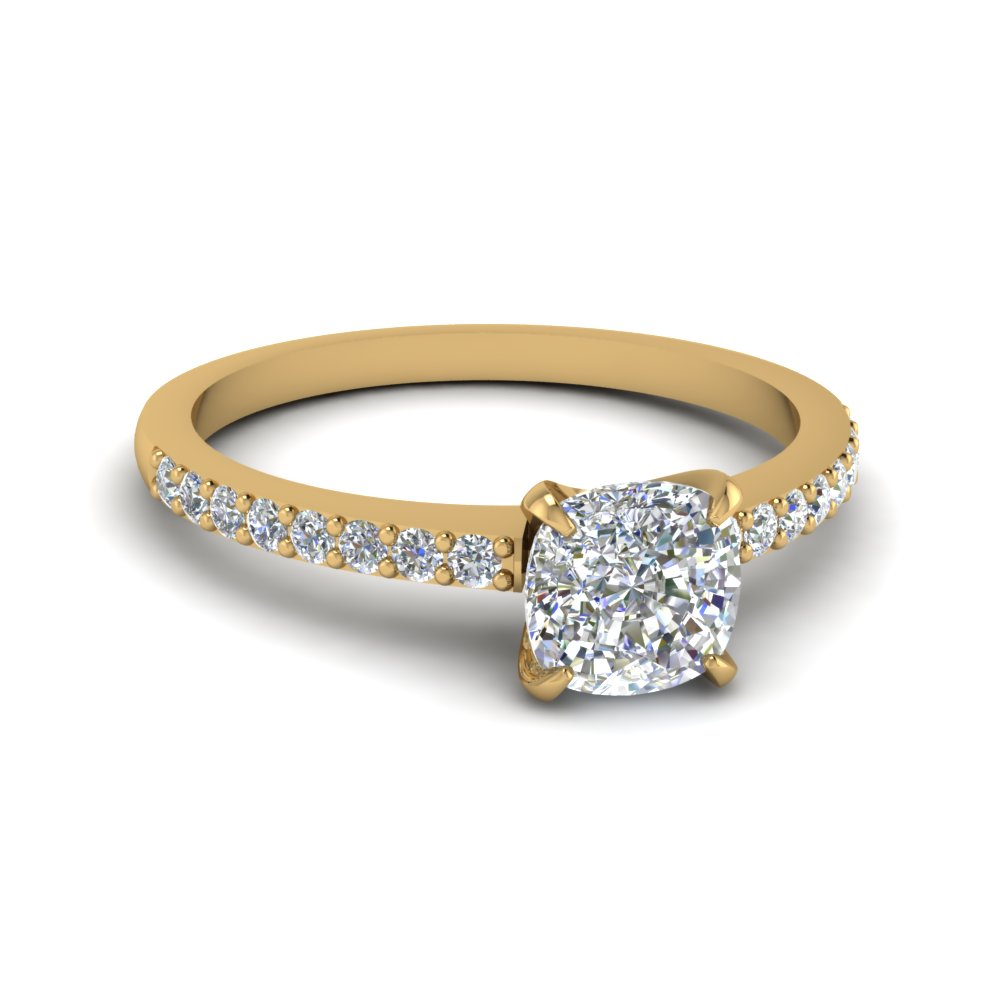 Cushion Cut Diamond Petite Ring In 14K Yellow Gold Fascinating