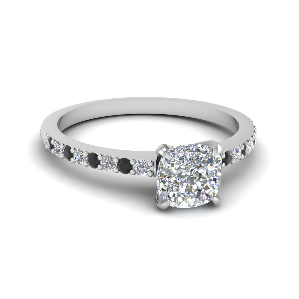 delicate cushion cut petite engagement ring with black diamond in FD1026CURGBLACK NL WG.jpg