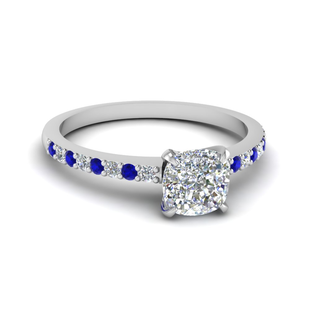 delicate cushion cut diamond petite engagement ring with sapphire in FD1026CURGSABL NL WG.jpg