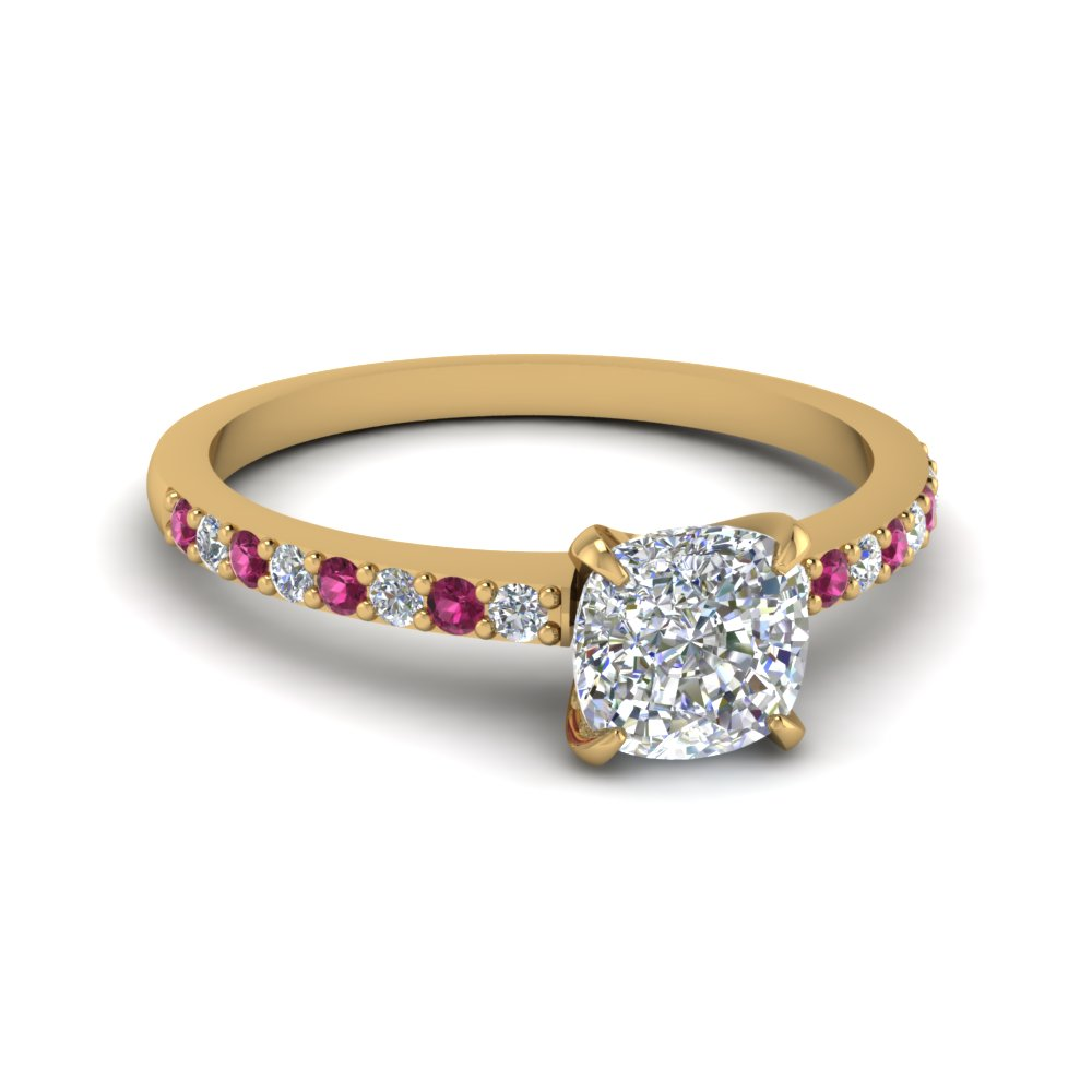 delicate cushion cut diamond petite engagement ring with pink sapphire in FD1026CURGSADRPI NL YG.jpg