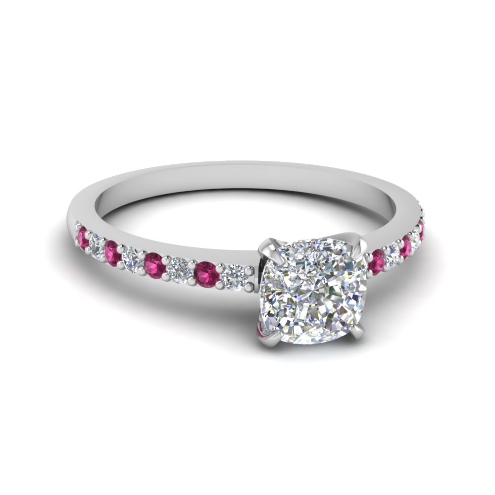 delicate cushion cut diamond petite engagement ring with pink sapphire in FD1026CURGSADRPI NL WG.jpg