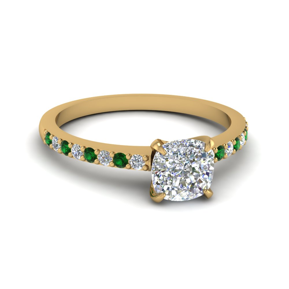 delicate cushion cut diamond engagement ring with emerald in FD1026CURGEMGR NL YG.jpg