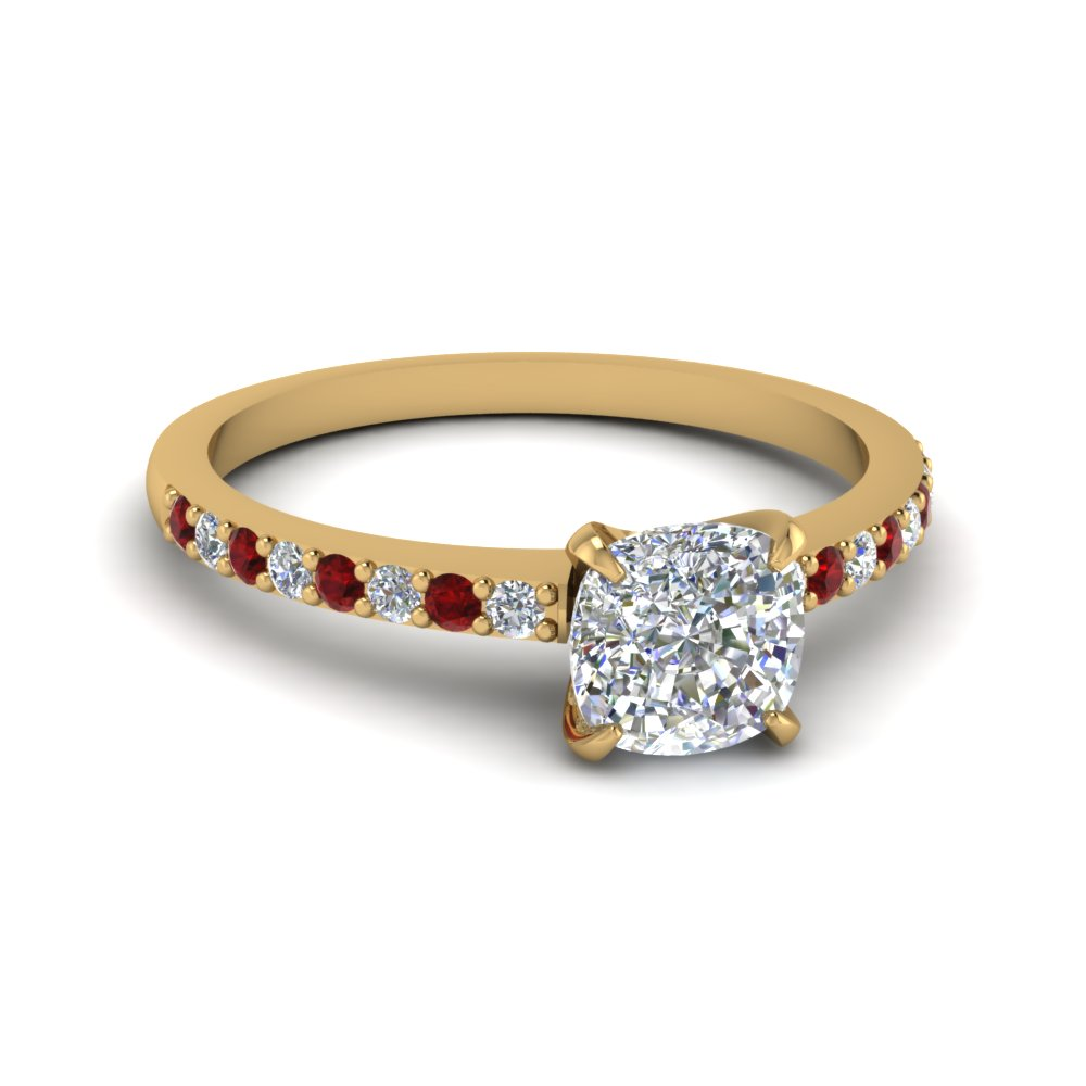 Cushion Cut Diamond Petite Ring With Ruby In 14K Yellow Gold