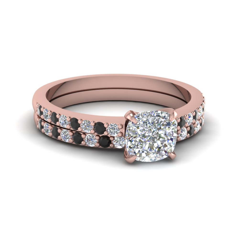 cushion cut diamond vanity flair wedding set with black diamond in 14K rose gold FD1026CUGBLACK NL RG