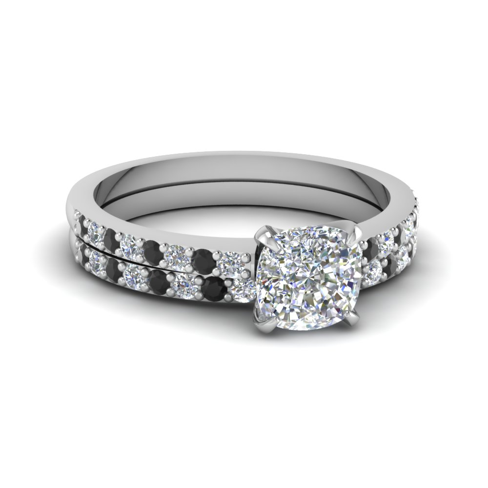 Cushion Cut Diamond Wedding Ring Sets With Black In 14k White Gold