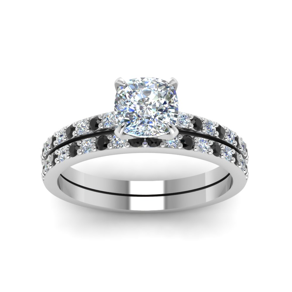 Cushion Cut Diamond Vanity Flair Wedding Set With Black Diamond In