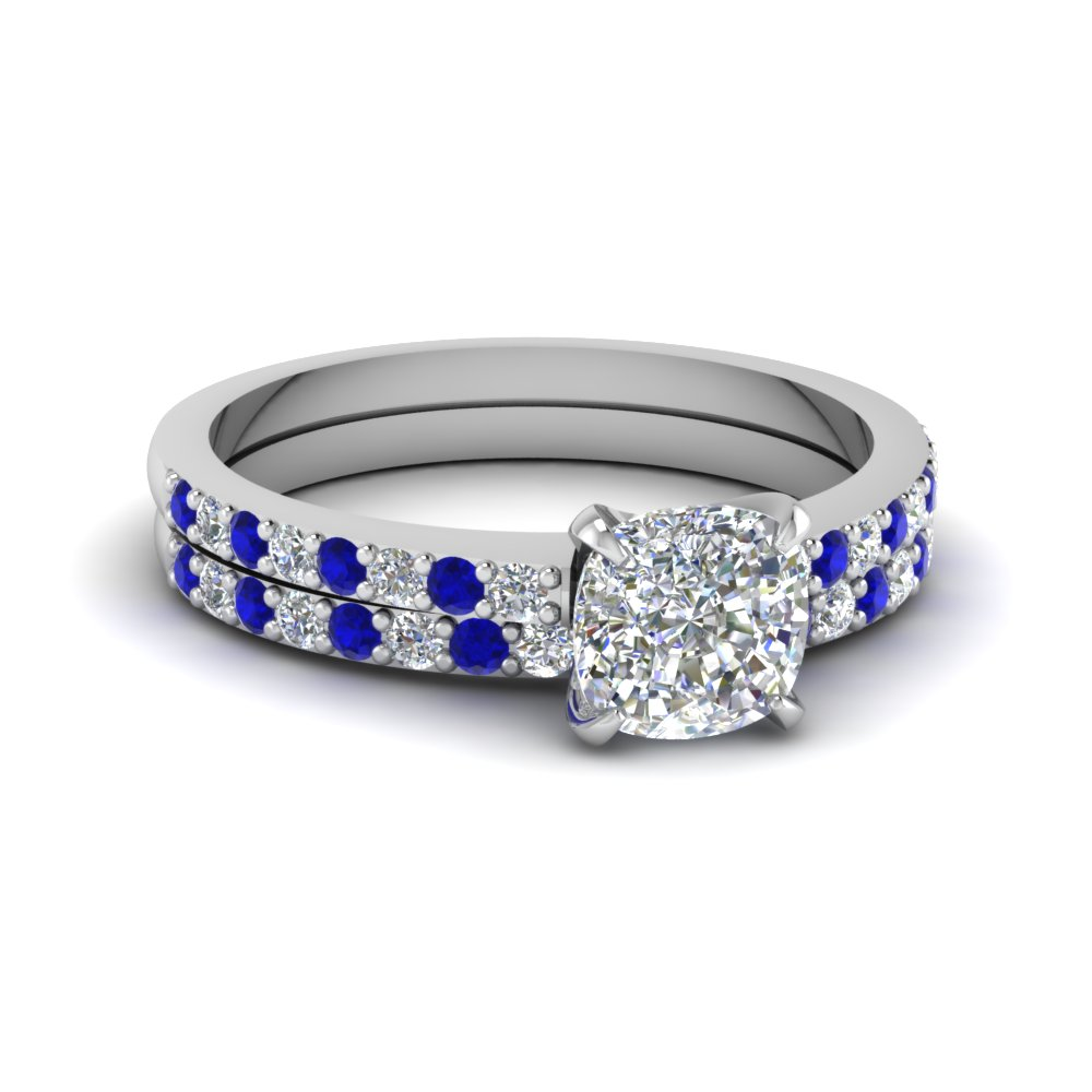 cushion cut diamond vanity flair wedding set with blue sapphire in 14K white gold FD1026CUGSABL NL WG
