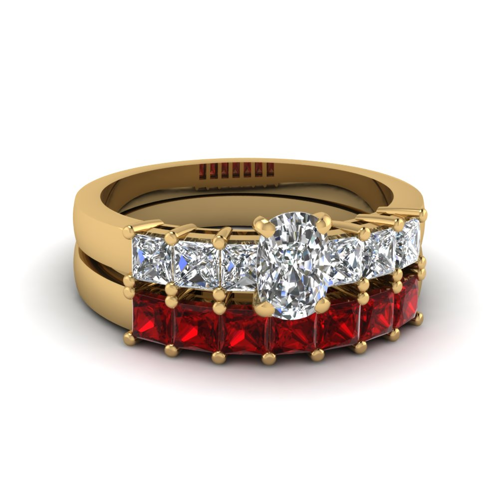 cushion cut diamond wedding anniversary ring sets gift with princess ruby in 14K yellow gold FDENS1027CUGRUDR NL YG BS