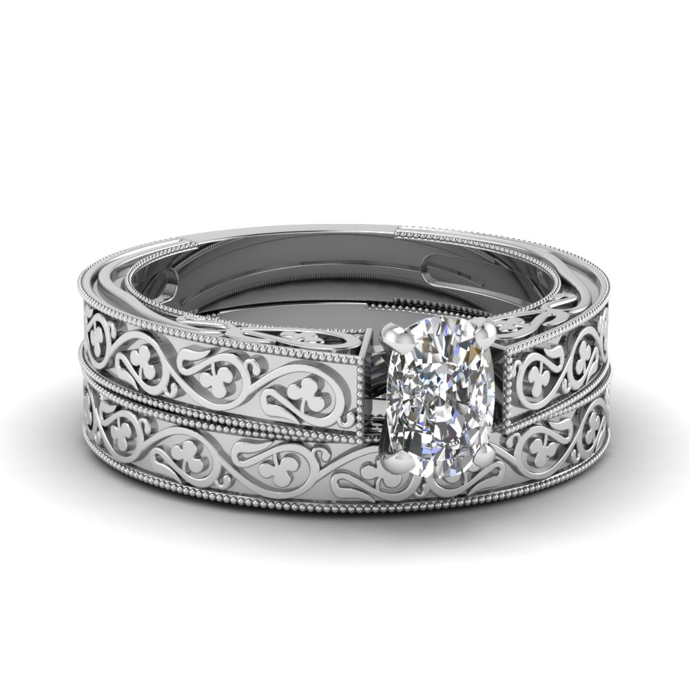 White Gold Cushion Cut Bridal Sets