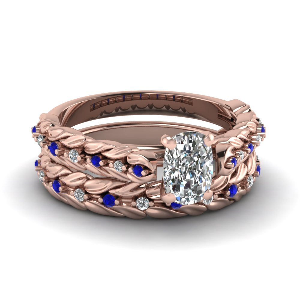 Sapphire Accented Rose Gold Cushion Cut Diamond Bridal Rings Set