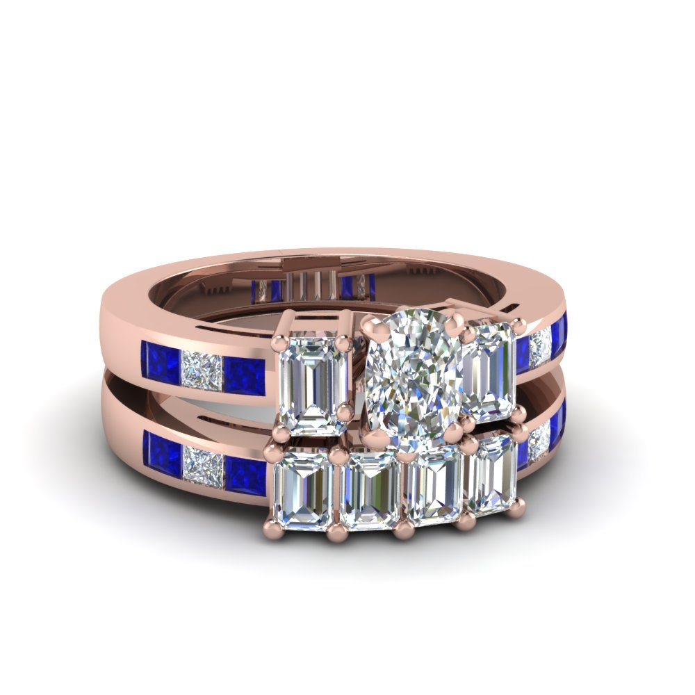 Sapphire and Cushion Diamond Wedding Sets In Rose Gold