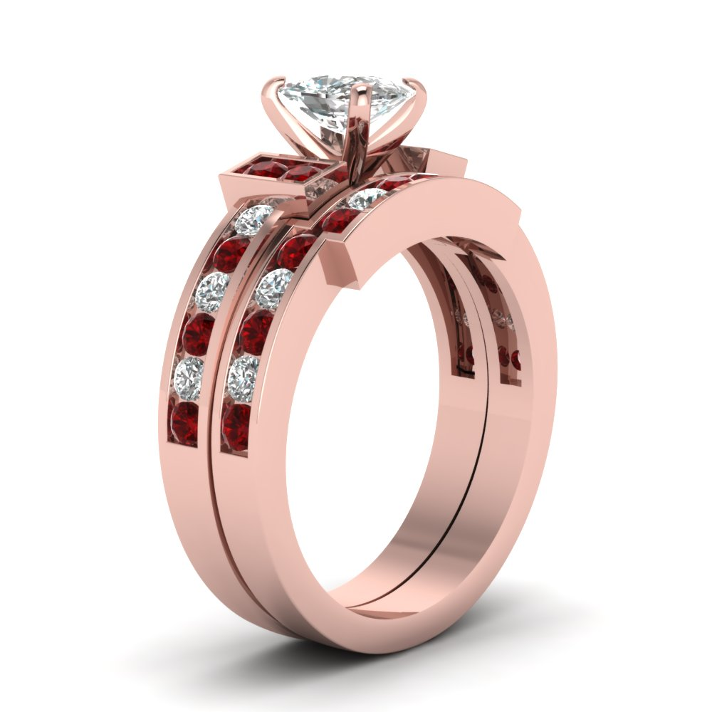Cushion Cut Diamond Wedding Ring Set With Red Ruby In 18K Rose Gold ...