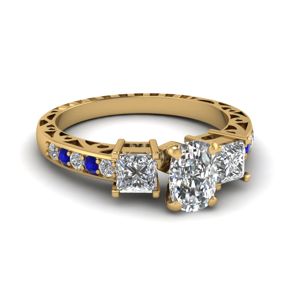 cushion cut vintage 3 stone diamond engagement ring with sapphire in FDENR1816CURGSABL NL YG.jpg