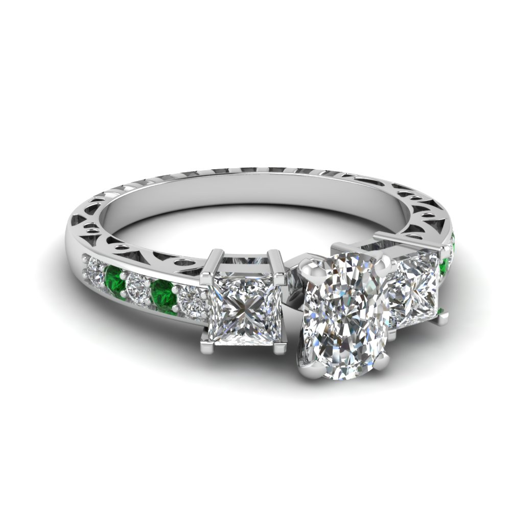 cushion cut vintage 3 stone diamond engagement ring with emerald in FDENR1816CURGEMGR NL WG.jpg