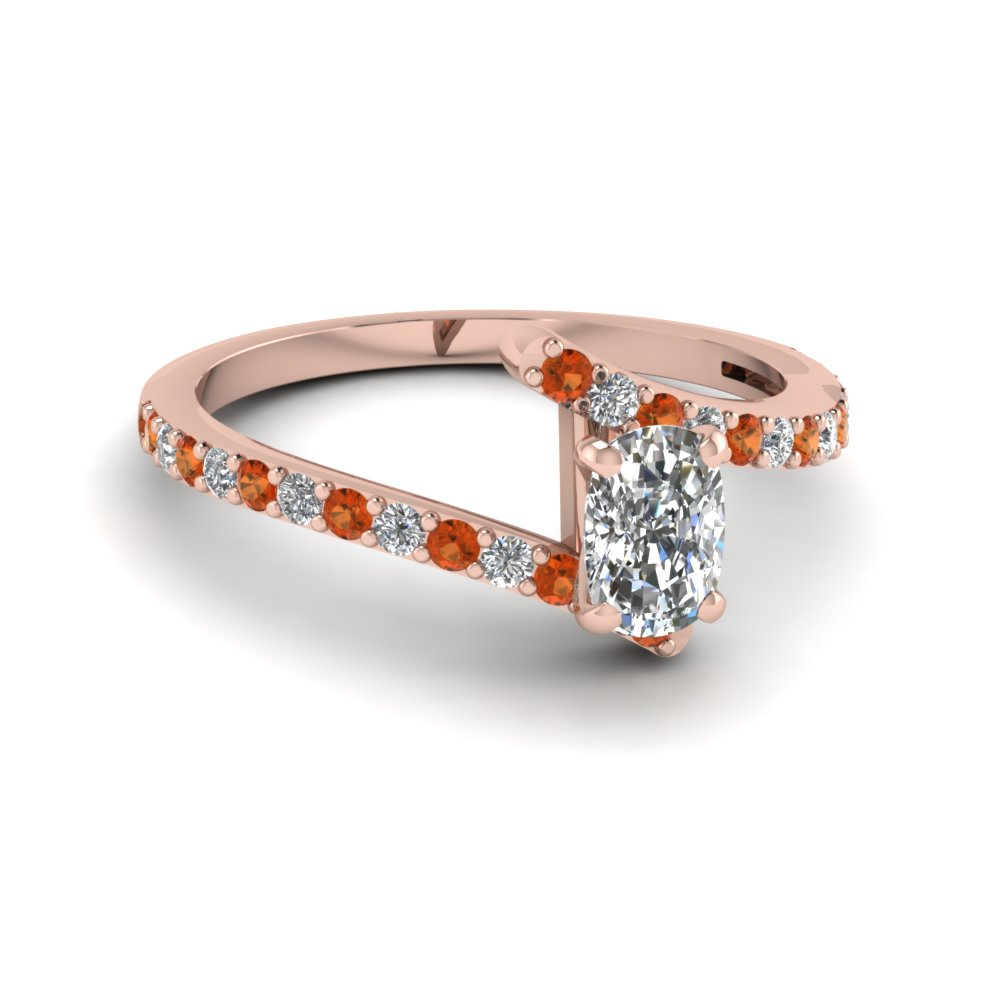Zig Zag 18k Rose Gold Petite Engagement Rings