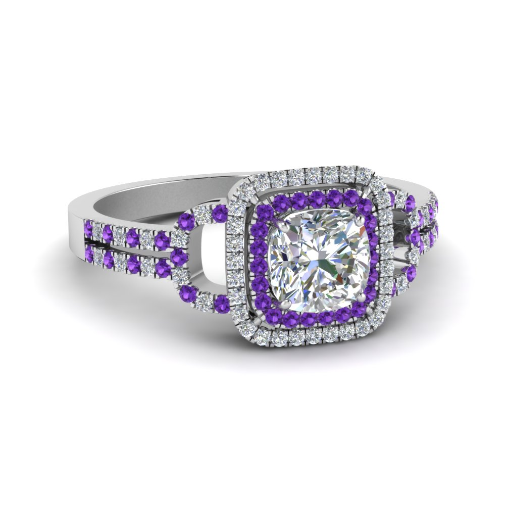 cushion cut double halo diamond engagement ring with violet topaz in FDENS3202CURGVITO NL WG.jpg
