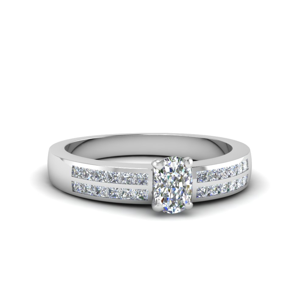 cushion cut double row channel diamond wide ring in 14K white gold FDENS3122CUR NL WG
