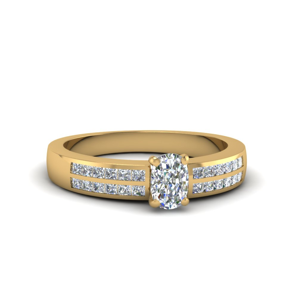 cushion cut double row channel diamond wide ring in 14K yellow gold FDENS3122CUR NL YG