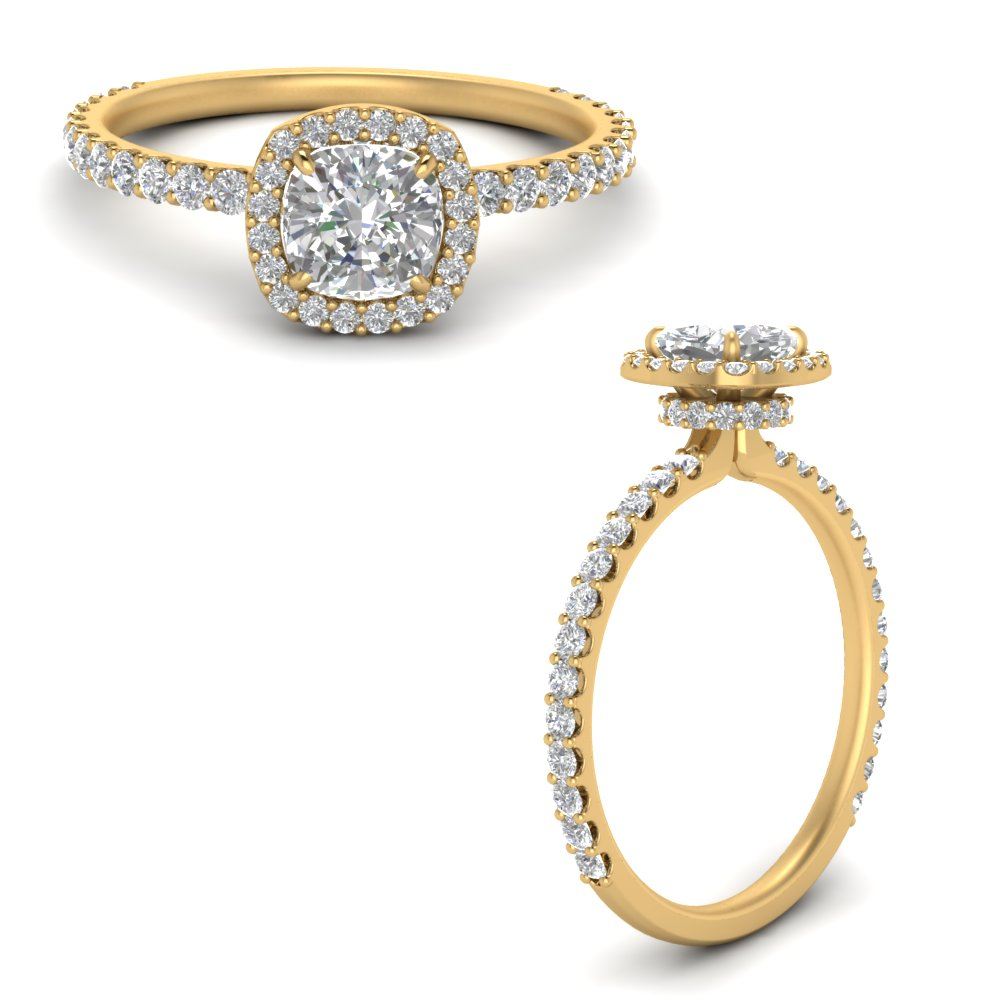 Micropave Under Halo Engagement Rings