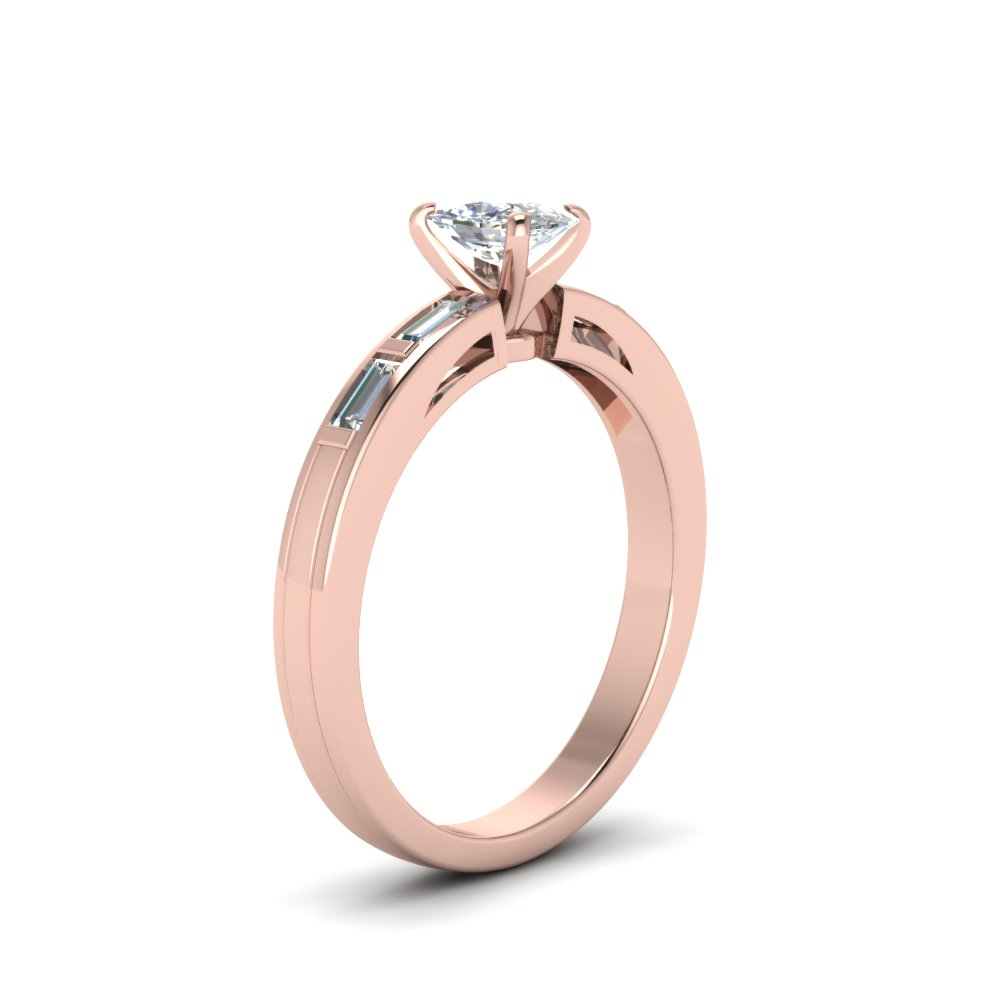 Baguette Engagement Ring With High Setting