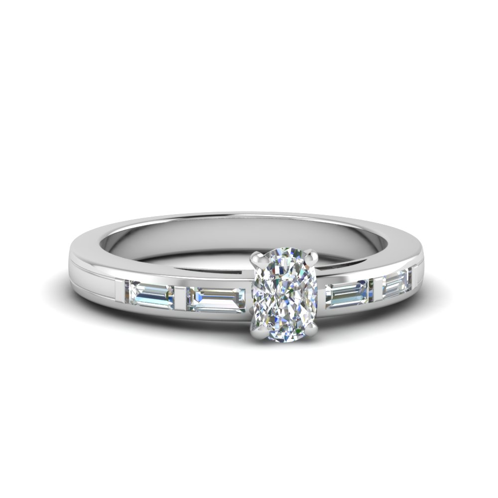 baguette bar with cushion diamond engagement ring in 950 Platinum FDENS218CUR NL WG