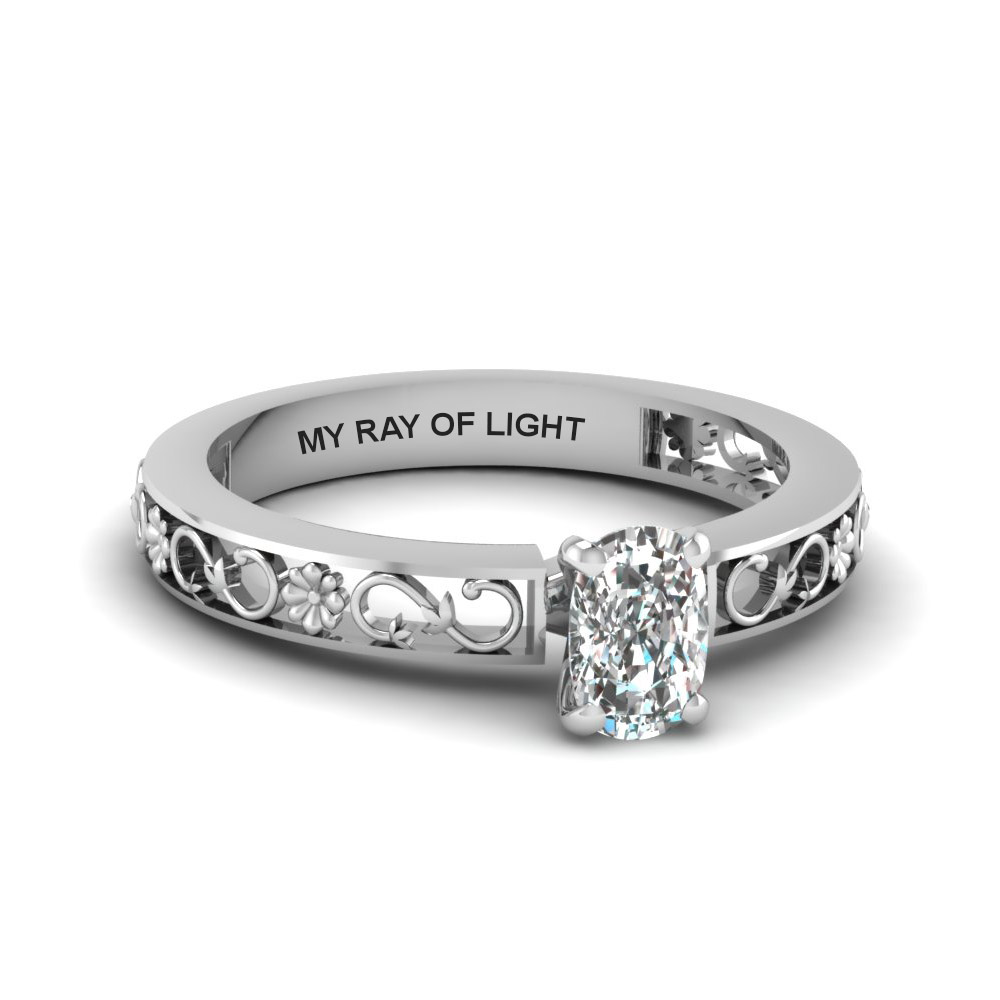 cushion cut engraved solitaire diamond engagement ring in  14K white gold FDENS3286CUR NL WG