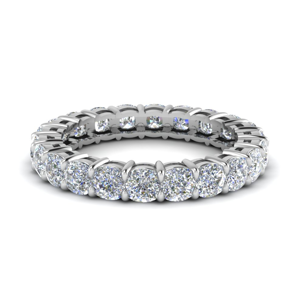 Cushion Cut Eternity Diamond Band In 14K White Gold
