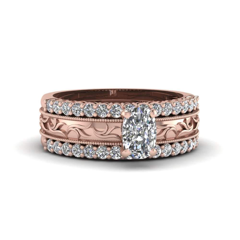 filigree milgrain band with diamond ring sets cushion cut diamond trio wedding ring sets with white diamond in 14k rose gold - Wedding Ring Trio Sets