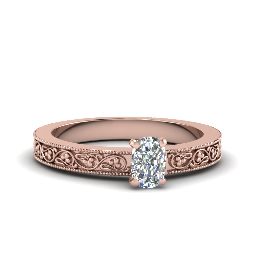 cushion cut filigree solitaire diamond engagement ring for women in 18K rose gold FDENS3627CUR NL RG
