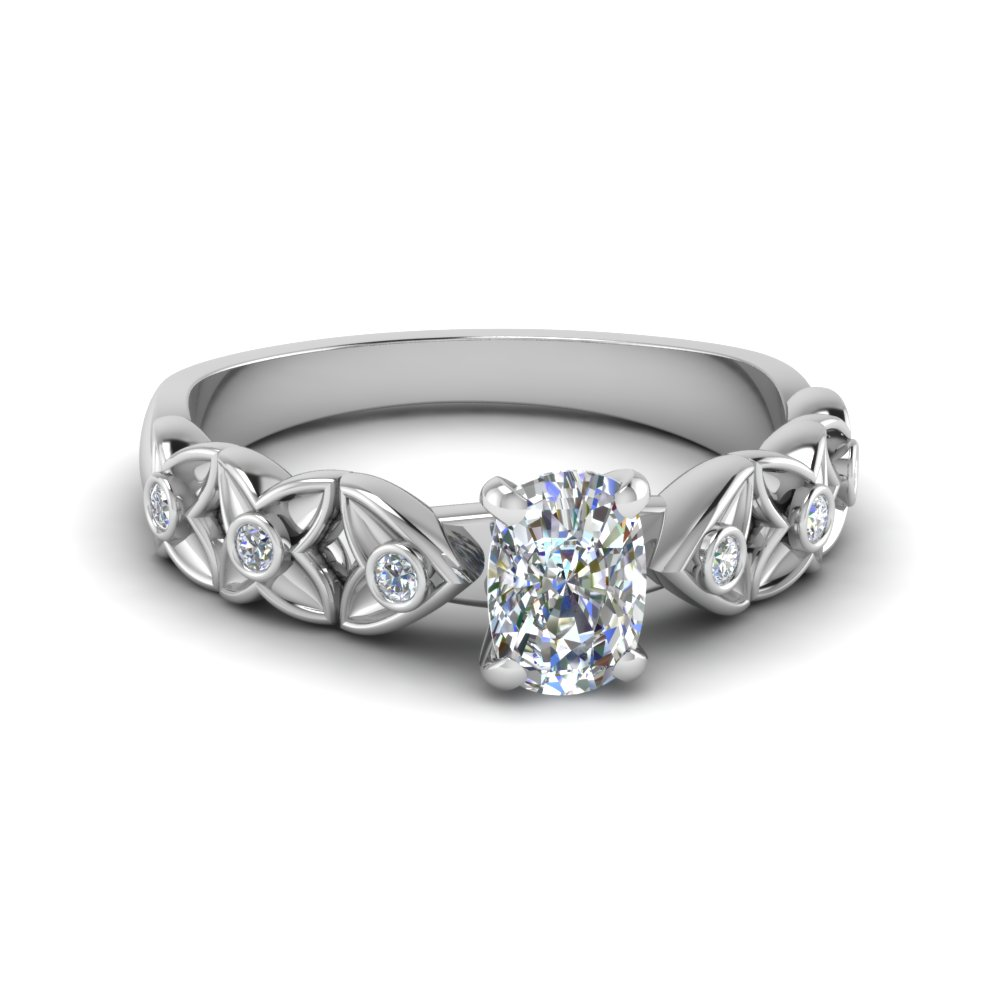 Cushion Cut Flower Engagement Ring