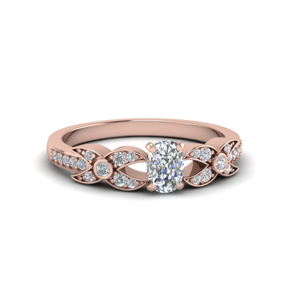 cushion cut flower pave diamond ring in 14K rose gold FDENS3322CUR NL RG