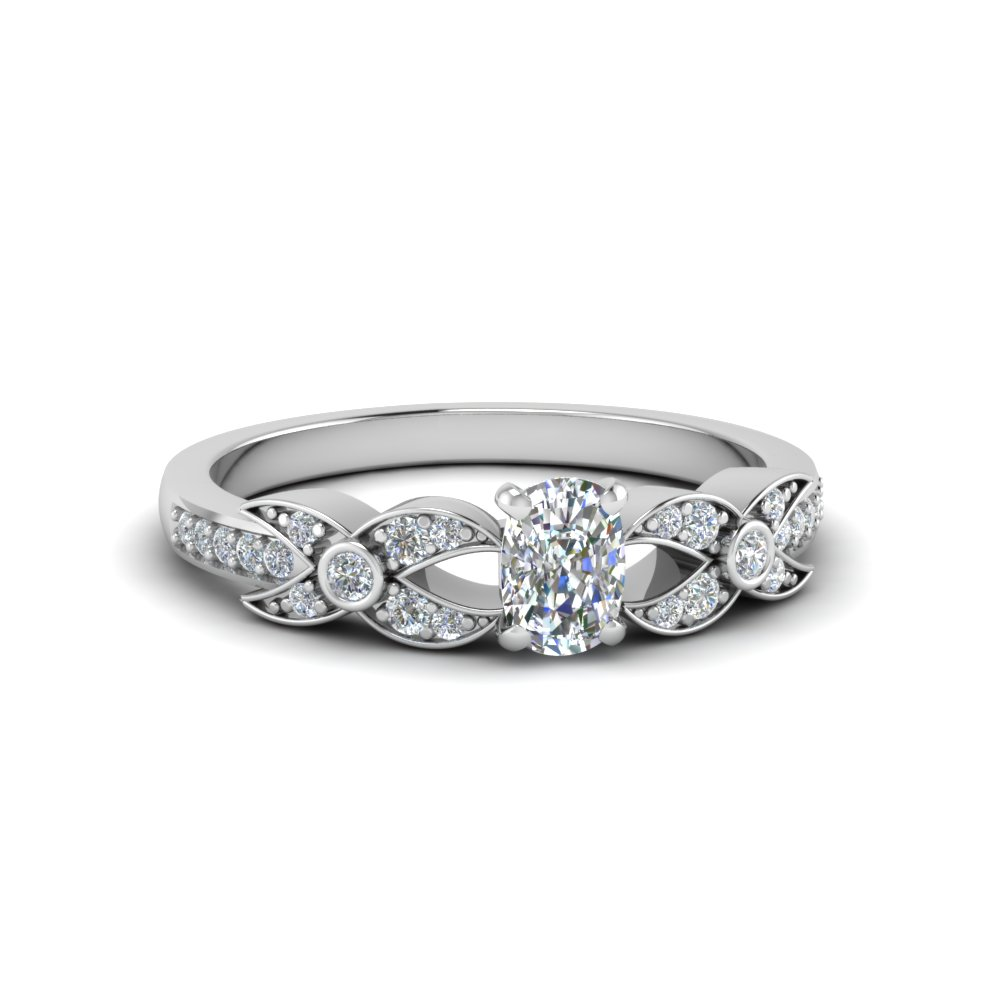 cushion cut flower pave diamond ring in 18K white gold FDENS3322CUR NL WG