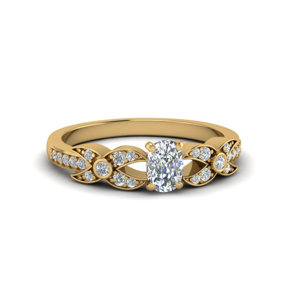 cushion cut flower pave diamond ring in 18K yellow gold FDENS3322CUR NL YG