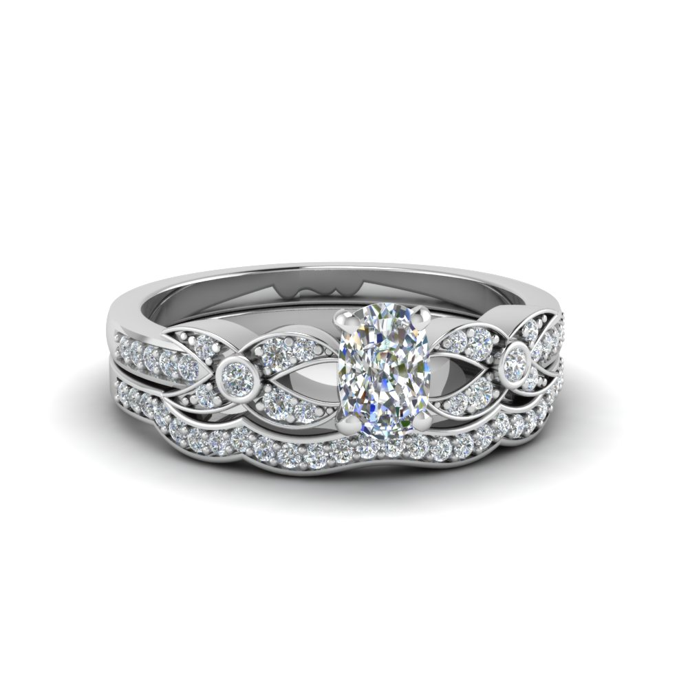Cushion Cut Accent Stone Wedding Sets