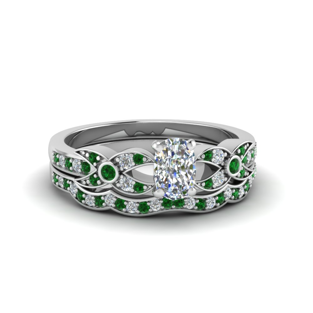 Cushion Cut Diamond & Emerald Bridal Set