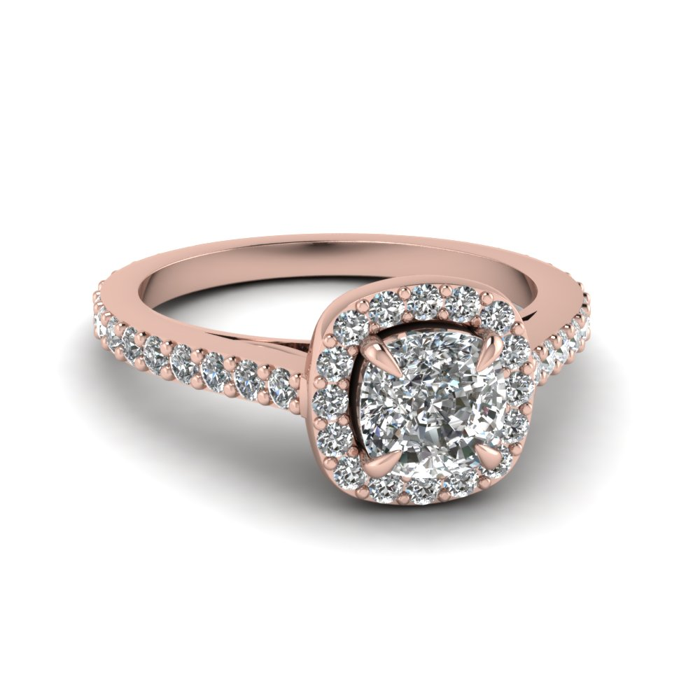 Cushion Cut Diamond Halo Engagement Rings With White Diamond In 14k Rose  Gold