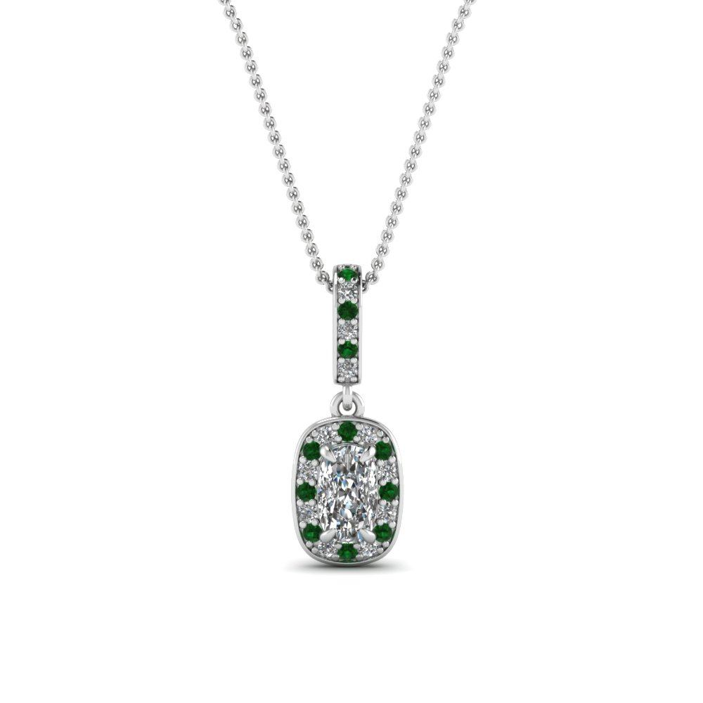 halo cushion diamond pendant with emerald in 950 Platinum FDPD85656CUGEMGR NL WG