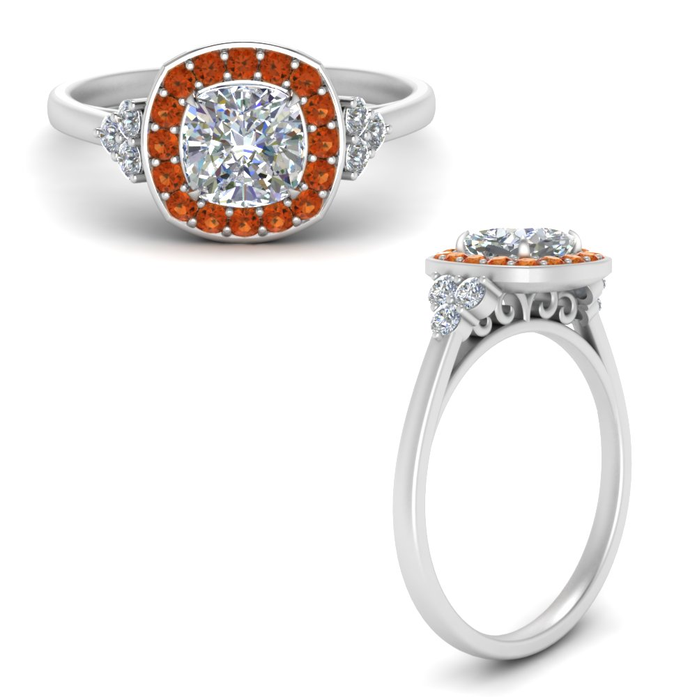 cushion-cut-halo-cluster-moissanite-engagement-ring-with-orange-sapphire-in-FD122778CURGSAORANGLE3-NL-WG